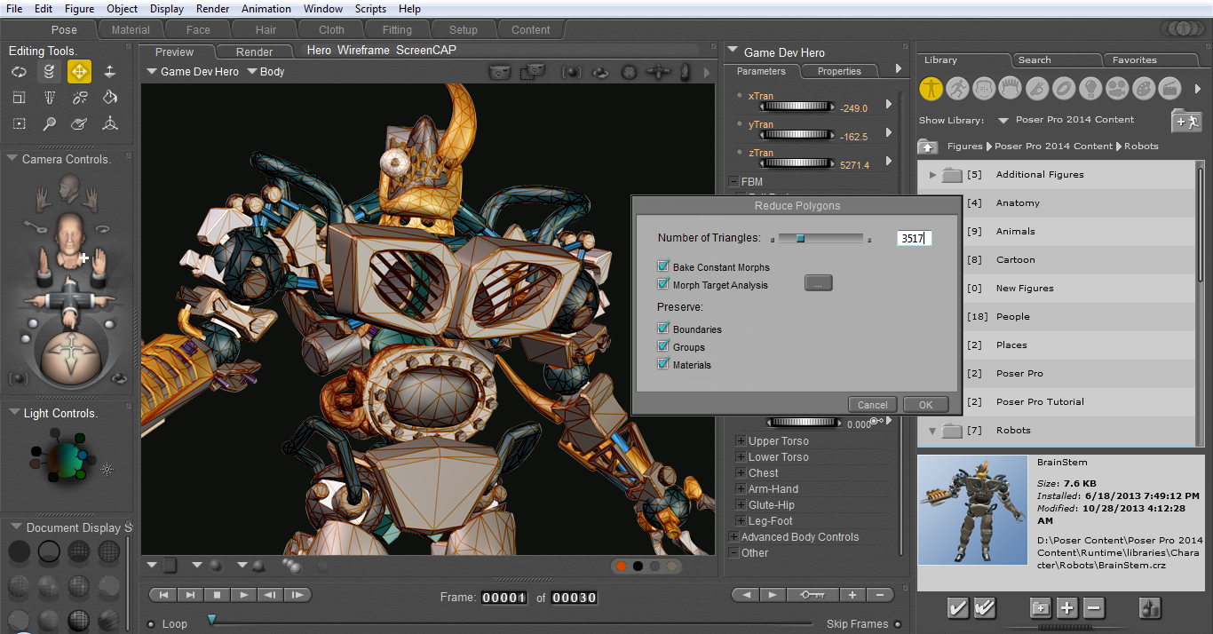 Poser Pro Game Dev includes an interactive Polygon Reduction tool to tailor high-poly Poser figures for game and interactive content in Game engines like Unity.