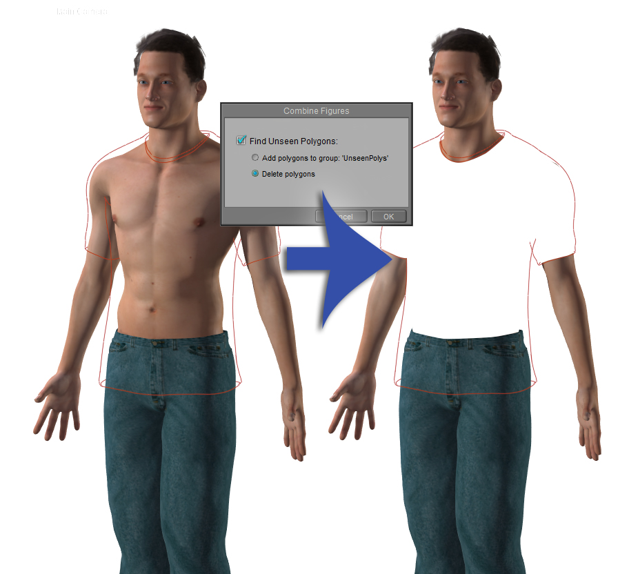 The new Figure Combining and Unseen Polygon feature will merge compound clothed figures into a new single figure and remove hidden polygons that are invisible under clothing.