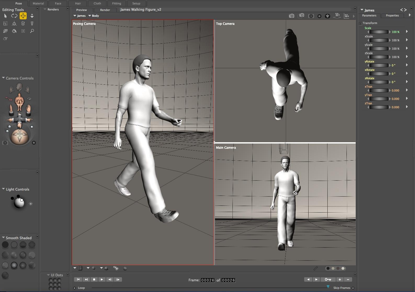 Poser: Male Figure Walk Cycle
