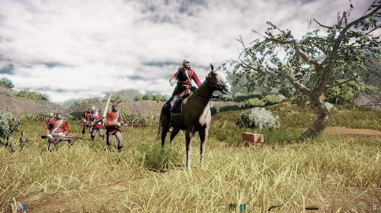 player w/British soldiers